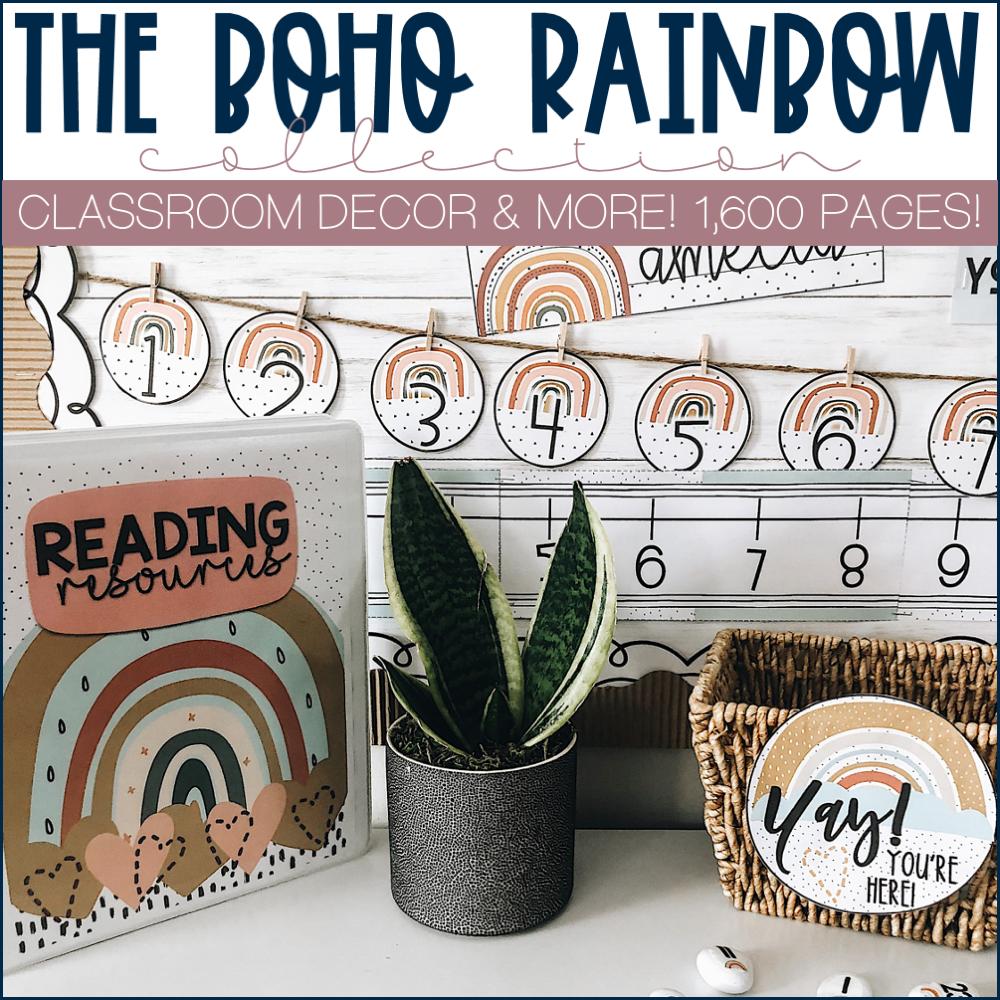 Example of Boho Rainbow Classroom Decor