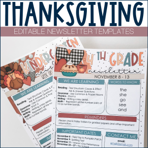 Thanksgiving Newsletter Template Example