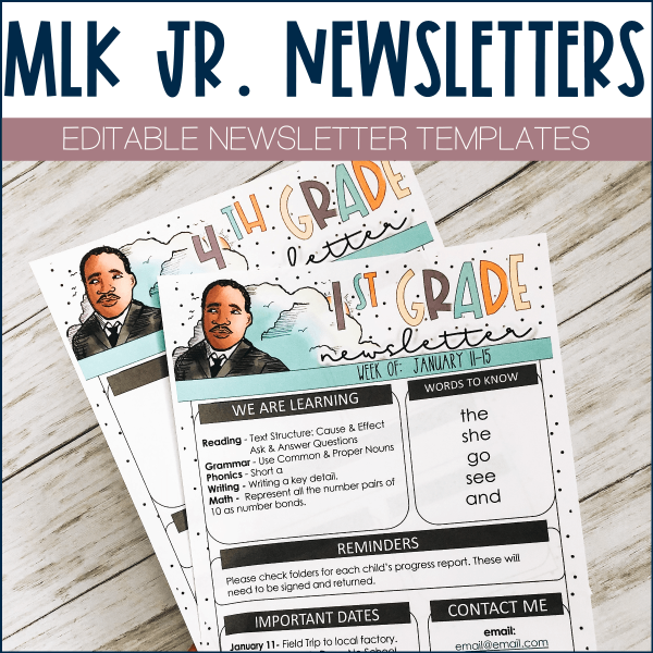 Free Classroom Newsletter Template Example - Martin Luther King Jr Design