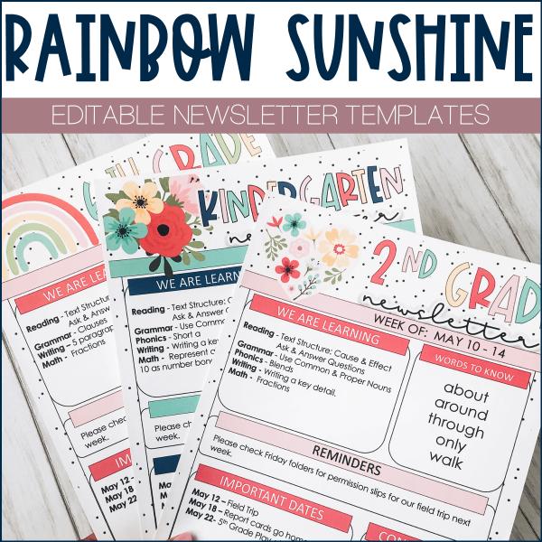 Rainbow Newsletter Template Example
