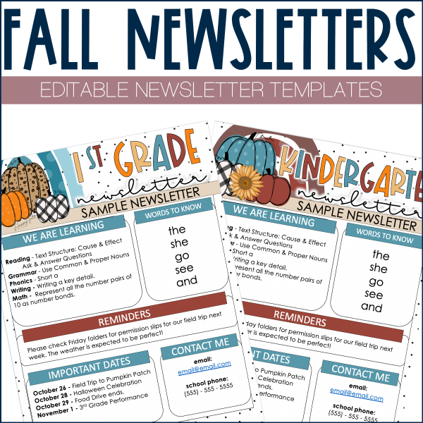 Fall template for classroom newsletters
