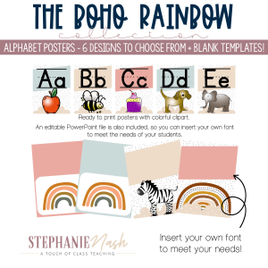 Boho Rainbow Alphabet Posters
