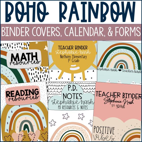 Boho Rainbow Binder Covers