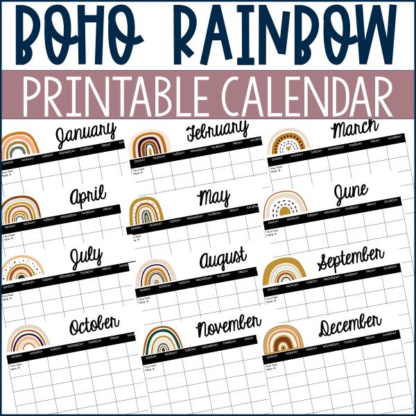 Boho Rainbow Calendar