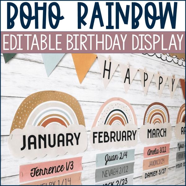 Boho Rainbow Birthday Display Example
