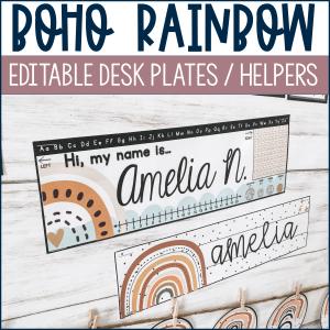 Boho Rainbow Desk Name Plates