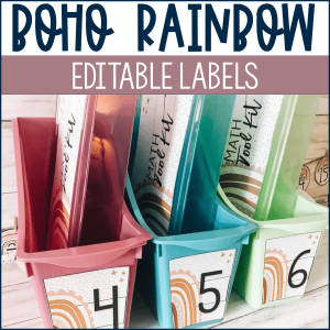 Boho Rainbow Labels for the Classroom