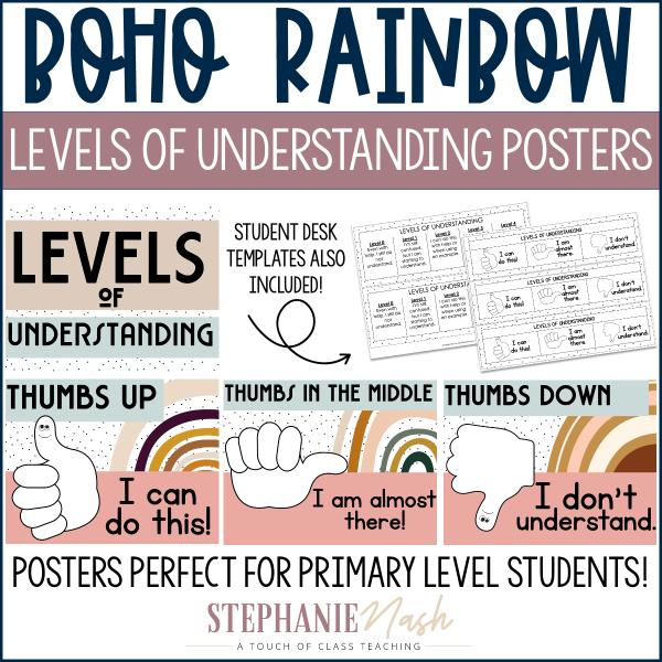Boho Rainbow Levels of Understanding Posters