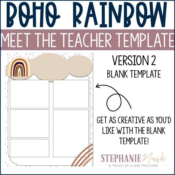 Boho Rainbow Meet the Teacher Template