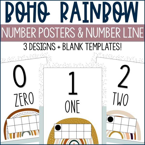 Boho Rainbow Number Posters