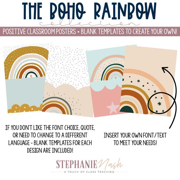 Boho Rainbow Classroom Posters