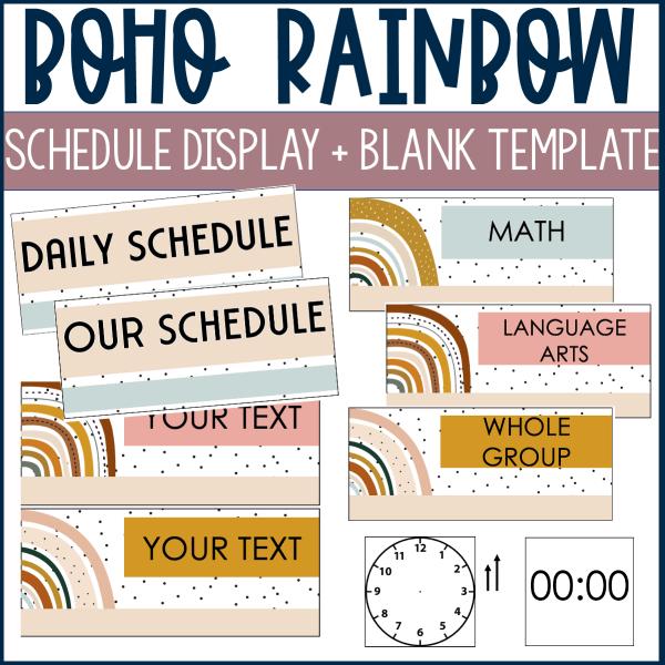 Boho Rainbow Schedule Display