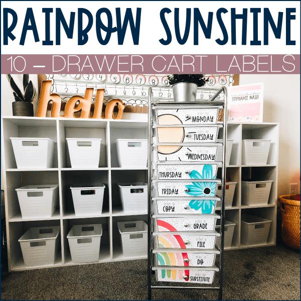 Rainbow Sunshine 10 drawer cart labels