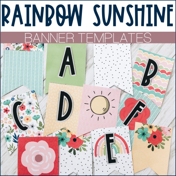 Rainbow Banner Letters Example