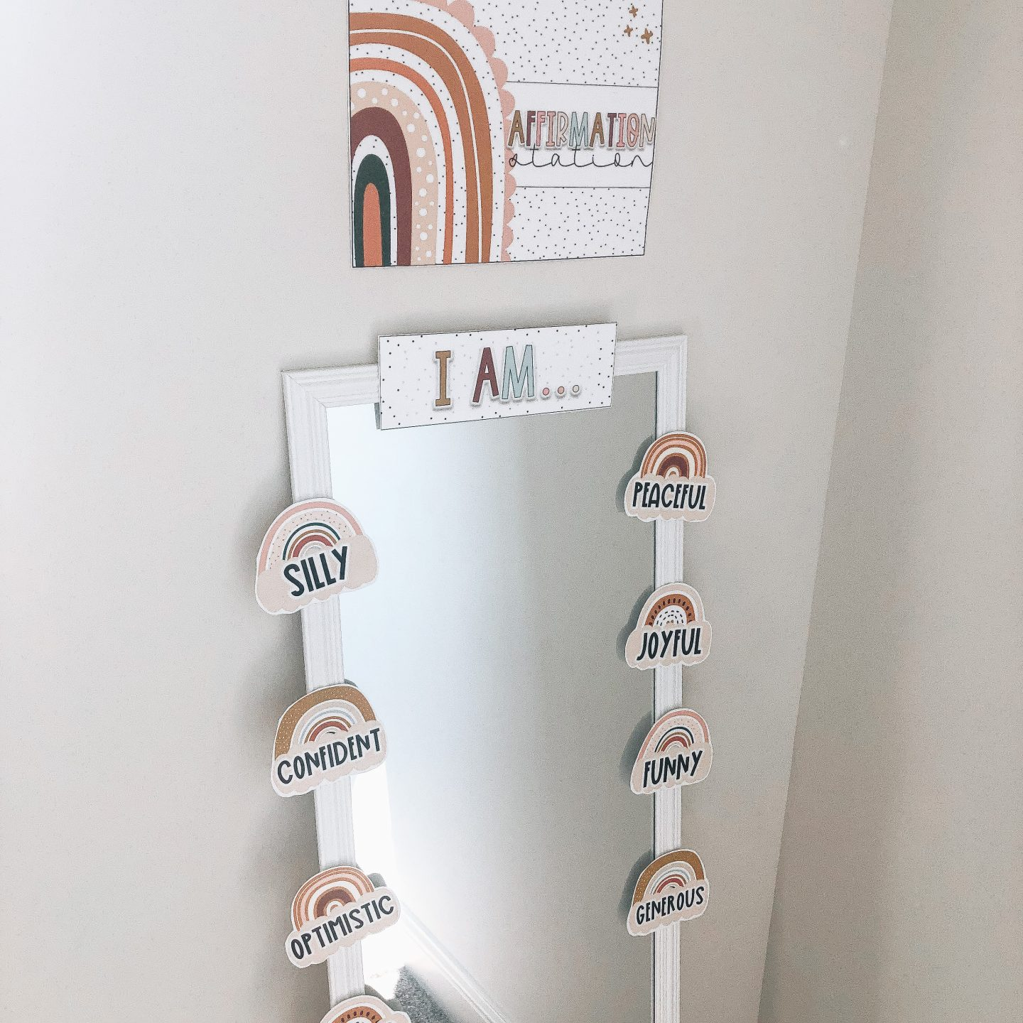 An affirmation station, complete with headers and affirmation statements on a mirror.