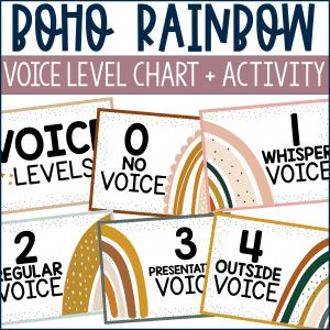 Boho Rainbow Voice Level Posters