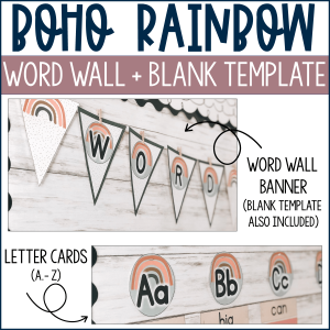 Boho Rainbow Word Wall Banner