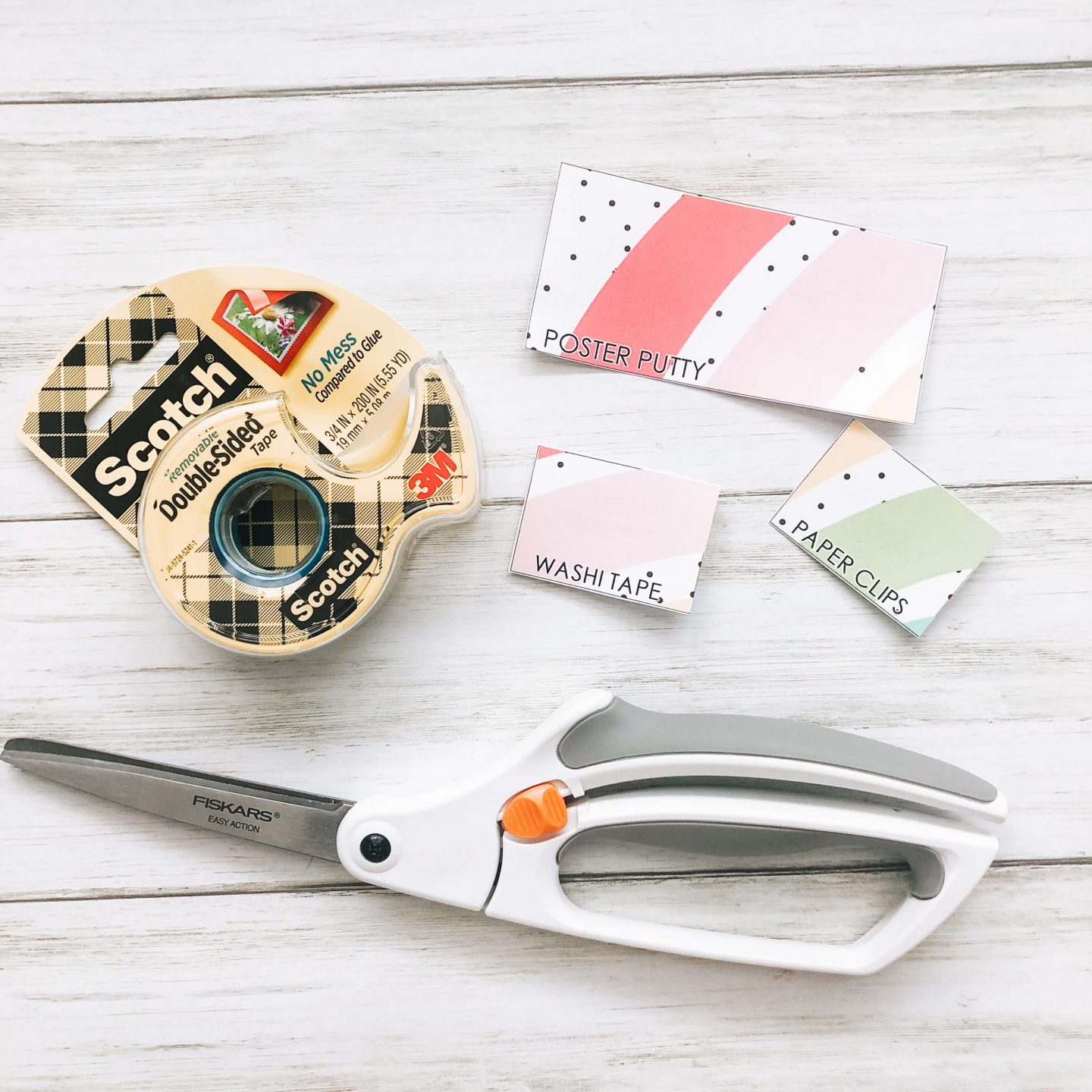 Supplies needed to create your own teacher toolbox for your classroom. Supplies needed include scissors, double sided tape and drawer labels.