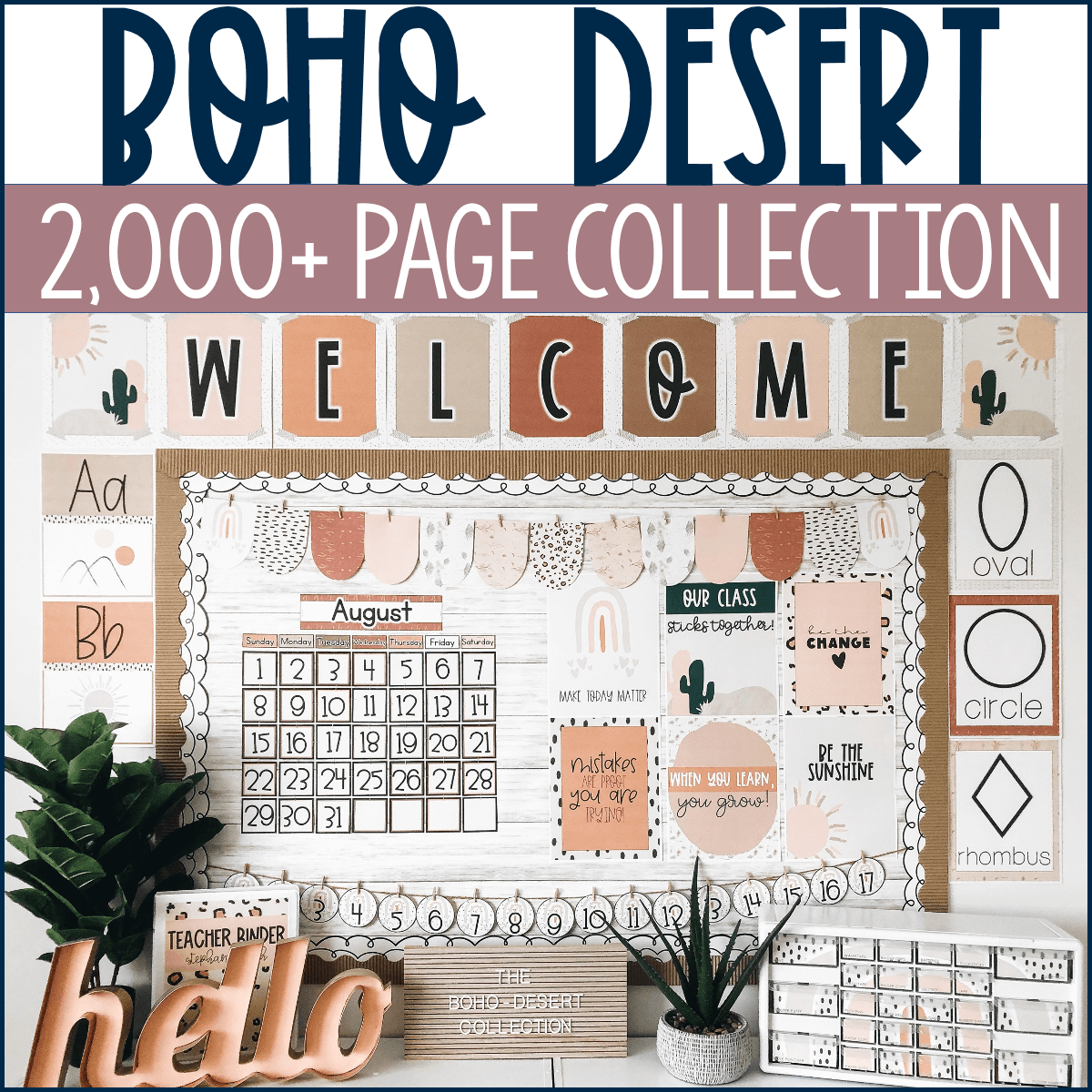Use this Boho Desert Collection to bring your classroom organization ideas to life.