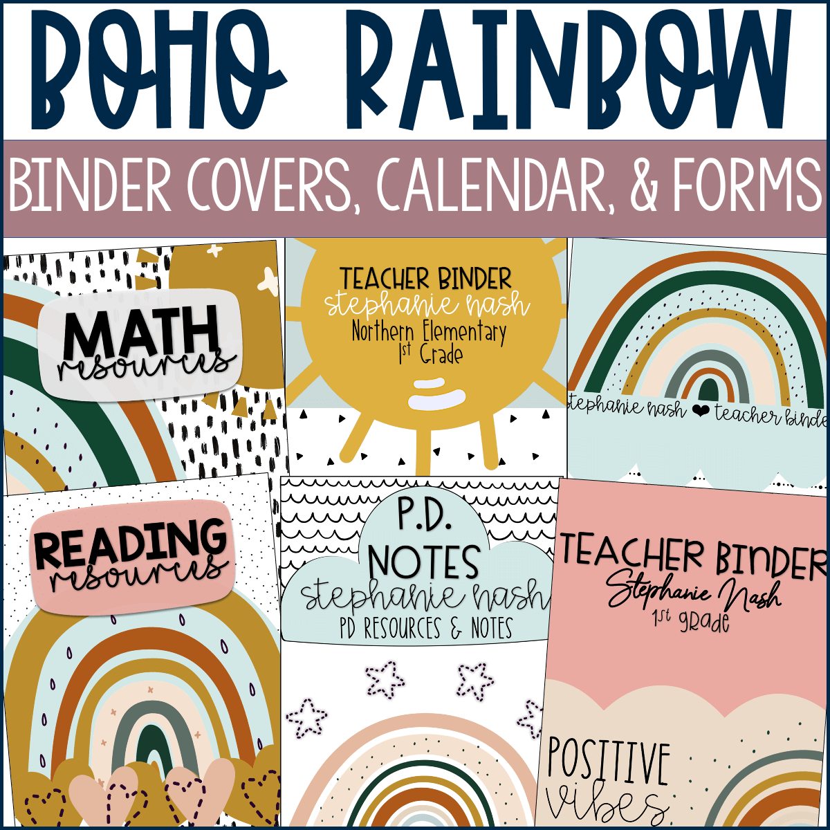 Use these Boho Rainbow binder covers, calendars and forms to bring your classroom organization ideas to life.