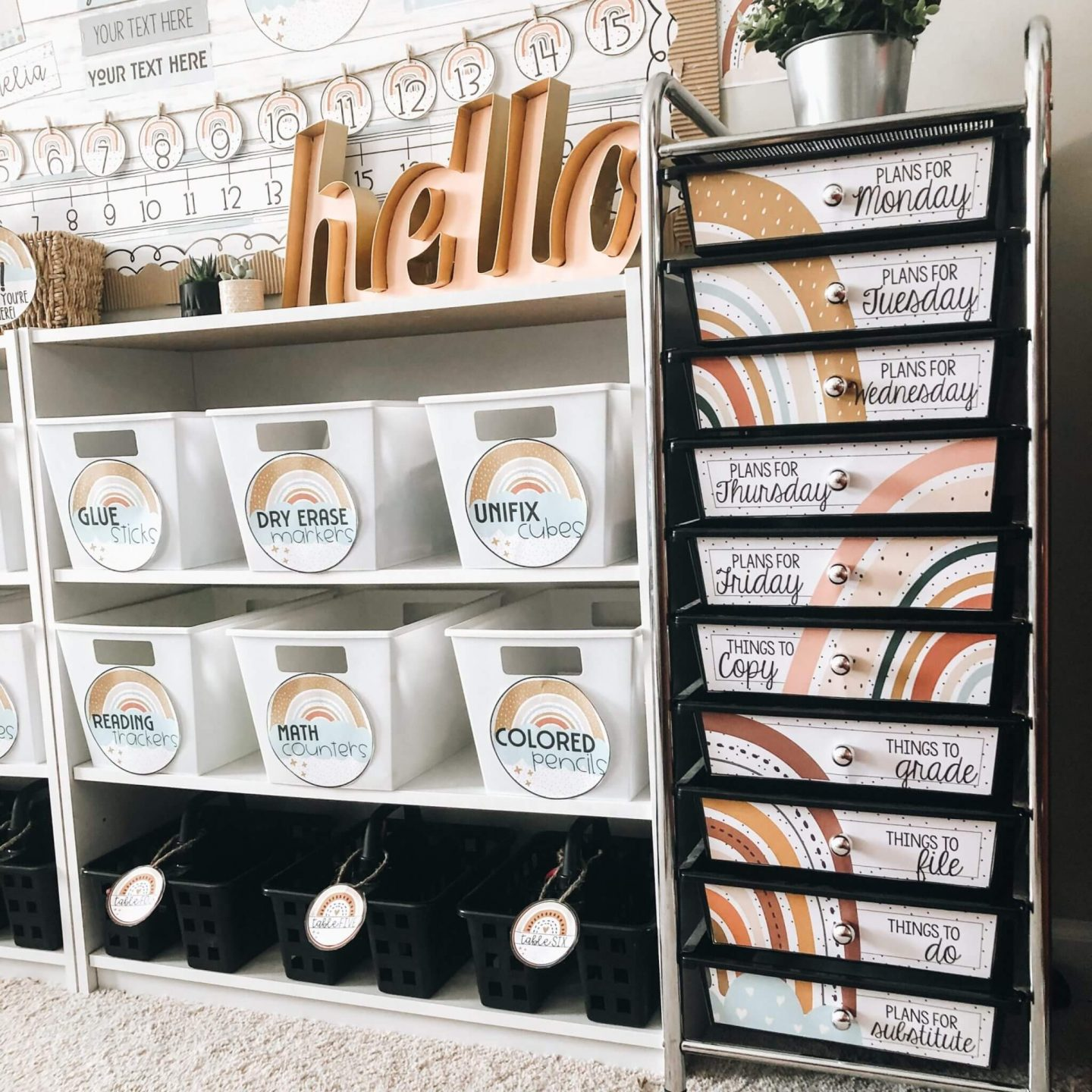 Another classroom organization idea is to label bins and containers used for copies and materials.