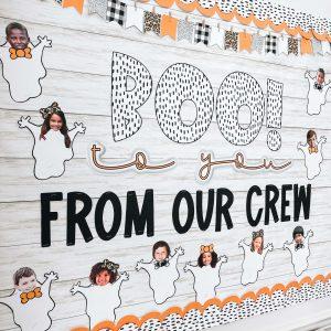 Fun bulletin board display activity for halloween in the classroom.